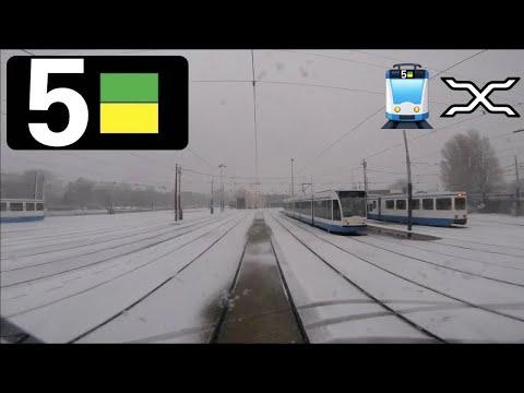 🚋 GVB Amsterdam Tramlijn 5 Cabinerit Centraal Station - Station Zuid - Remise Havenstraat in sneeuw