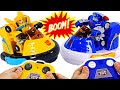 Transformers Rescue Bots Academy Bumblebee VS Chase Bumper Cars RC | DuDuPopTOY