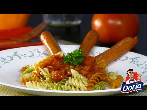 Tornillos Verduras Doria con Salsa de Tomate y Cebolla