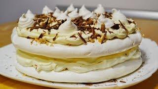 Торт медовый бисквит с прослойкой безе и заварным кремом видео-рецепт