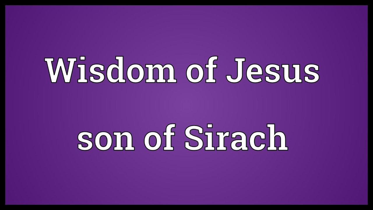 wisdom of jesus son of sirach pdf
