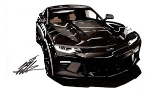 Realistic Car Drawing - 2016 Chevrolet Camaro SS - Time Lapse