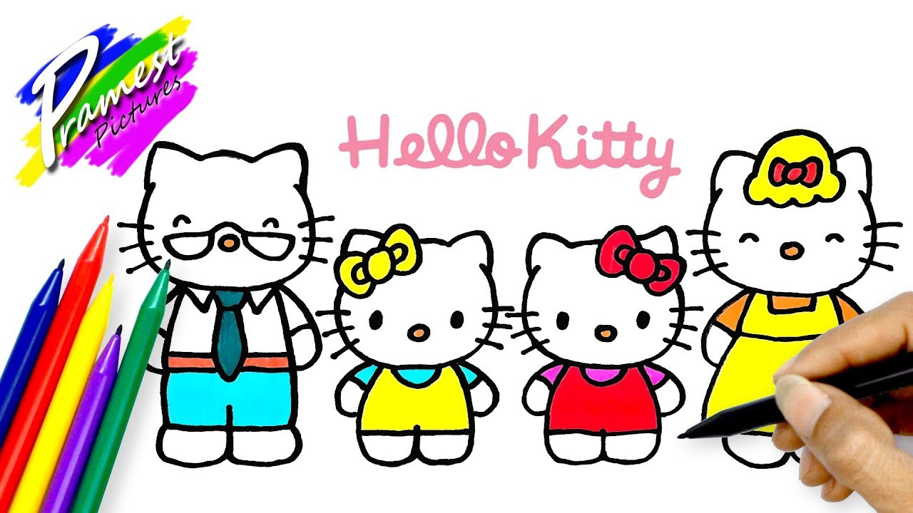 Hello Kitty Family ☆ Drawing And Coloring For Kids