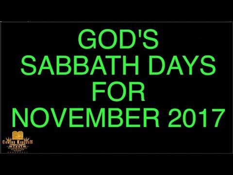 New Moon Report / Sabbath Days For November 2017.