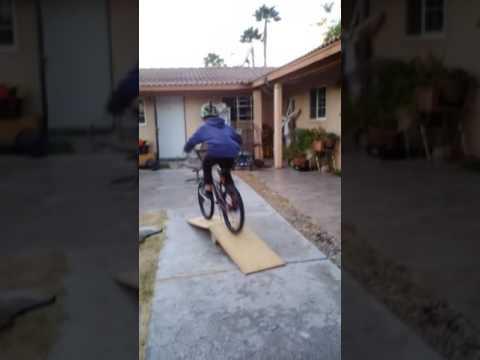Homemade bike, scooter, skateboard, and jump