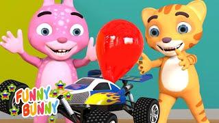 Balloon Cars Race Song   Nursery Rhyme & Funny Bunny