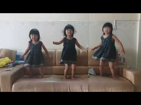 Jumping on the bed, 3 little girls jumping on the bed, 3 little monkeys jumping on the bed
