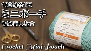毛糸1玉シリーズ#62☆ネット編みドット柄のミニポーチ編みました☆Crochet Mini Pouch☆かぎ針編みポーチ編み方