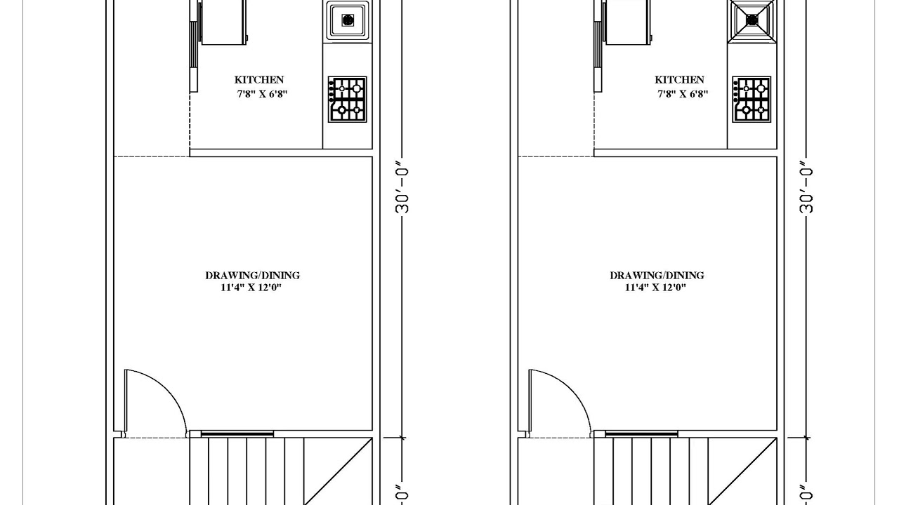 Different Planning and design 12'x32' house || south facing