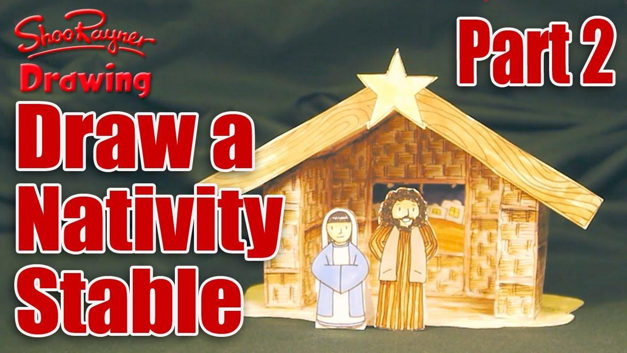 Christmas Stable Drawing.Make A Nativity Scene Part 2 Draw The Stable