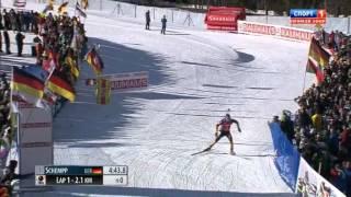 Биатлон, гонка преследования 24.01.2015, болельщик упал с мостика!