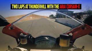 doing laps with pros and the new arai corsair x race helmet
