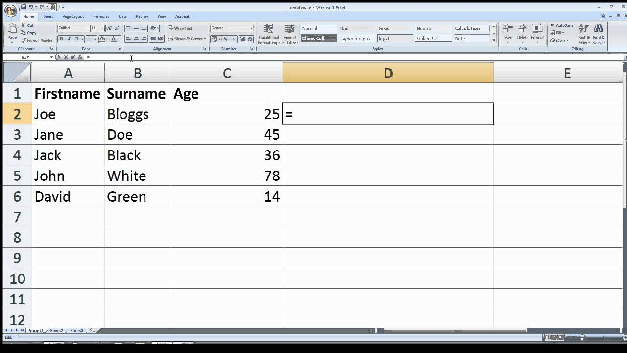 How to merge multiple columns into a single column using Microsoft Excel