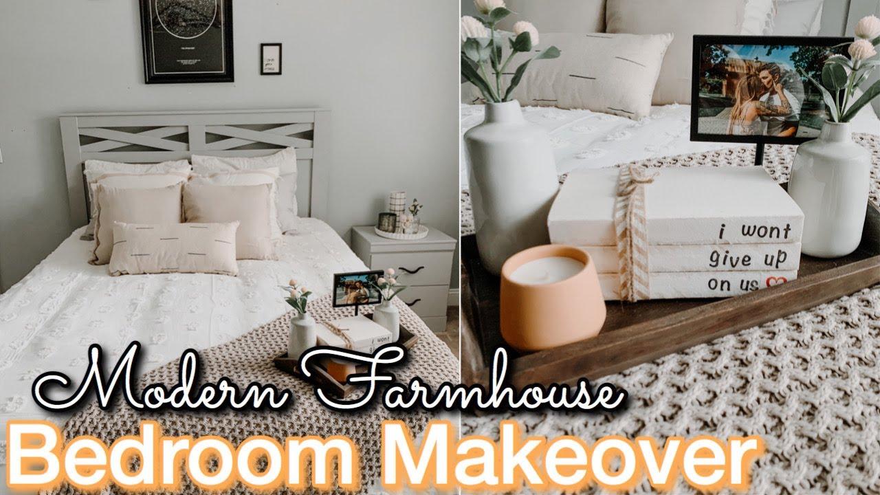 DIY MASTER BEDROOM MAKEOVER ON A BUDGET  Decorating Ideas  Modern  Farmhouse Bedroom  Bedroom DIY