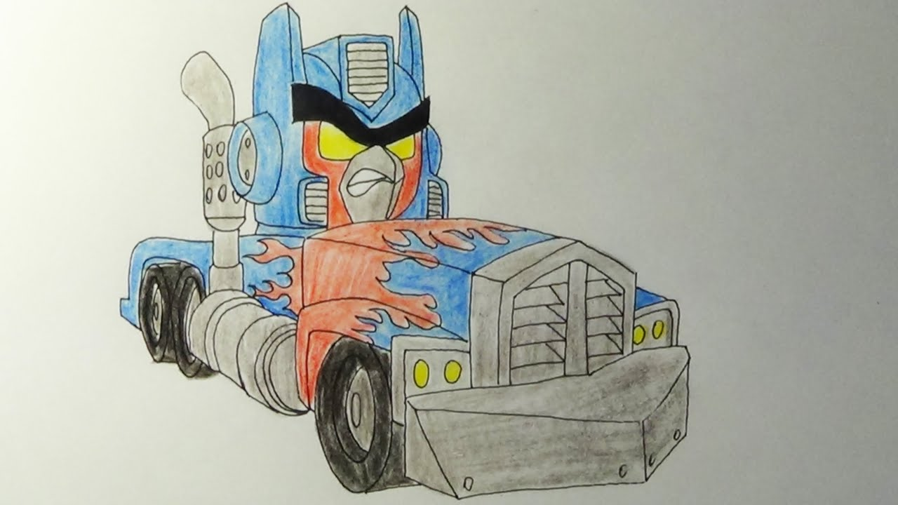 How to draw Angry Birds Transformers Red as Optimus Prime - YouTube