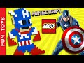 Captain America on Minecraft or Lego! Build it! Captain America Civil War #TeamCap vs #TeamIronMan: In this video you can learn to build a Captain America in the 8-bit style (similar to video game character Mario Bros or PacMan) with Lego pieces or if you prefer, in Minecraft.  We started a competition to find out which super hero has more fans, Captain America or Iron Man? Are you #TeamCap or #TeamIronMan ?  To help your favorite hero watch the video, click the like button and comment. We will be counting video views, likes and comments to decide wich hero wins! Share the video of your favorite hero and ask your friends to participate!  Do not forget to LIKE and SHARE the video. And please Subscribe: https://www.youtube.com/funtoysbrinquedosvideos/videos?sub_confirmation=1  Comment below if you liked the