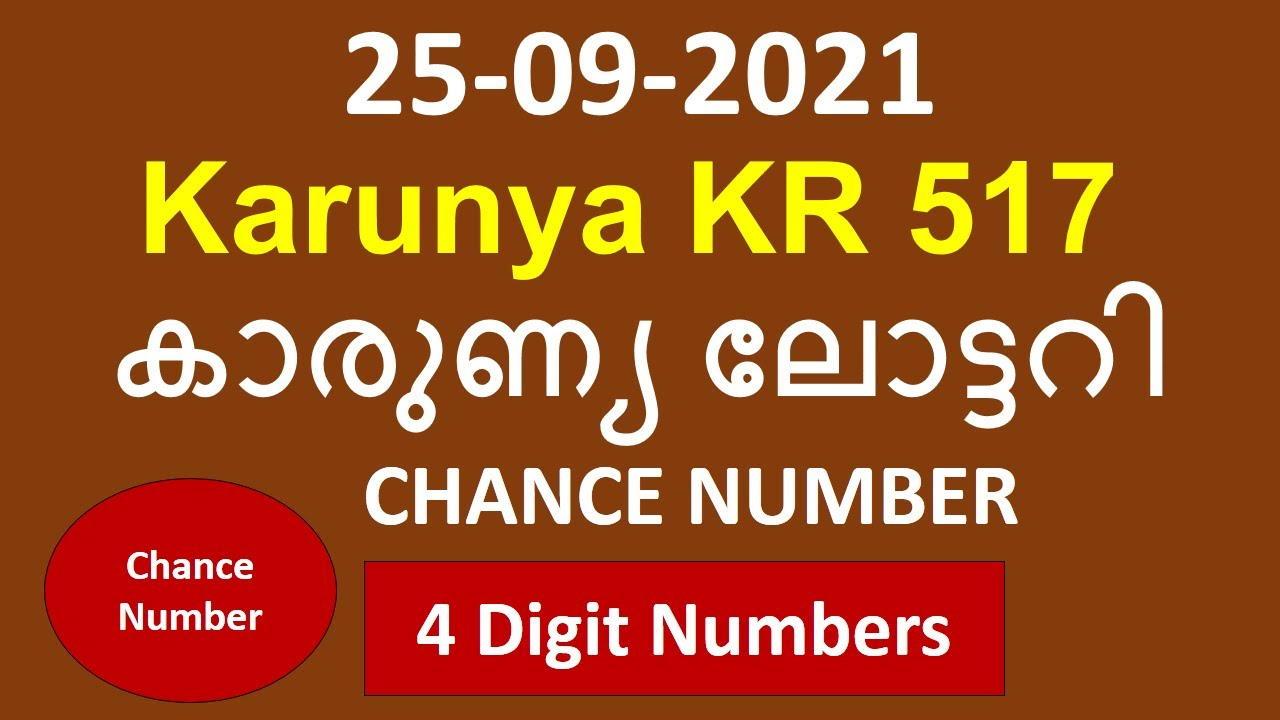 Download Kerala Lottery Guessing Chance Number 25 09 2021   Kerala Lottery Guessing   Karunya KR 517