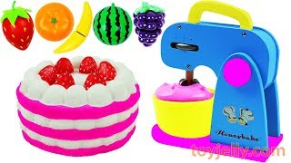 Learn Fruits & Vegetables Strawberry Cake Blender & Mixer Playset Play Doh Learn Colors for Kids