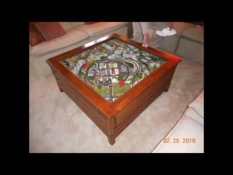 Z-scale layout in a coffee table. $FOR SALE$