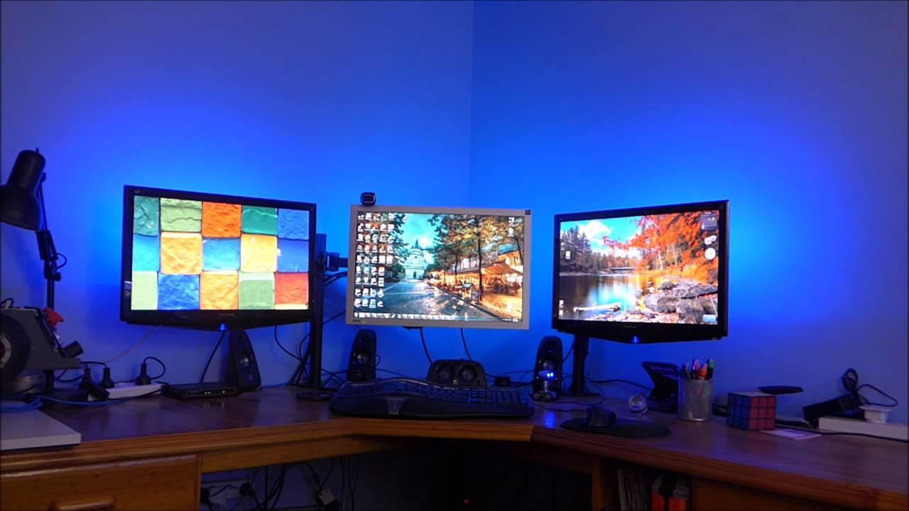 RGB Bias lighting on three monitors (using an arduino ...