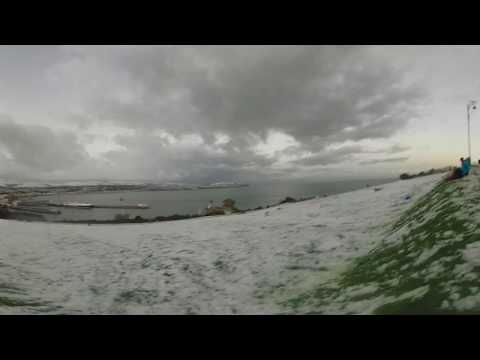 Isle of Man Snow 2017 Sledging on Douglas Head