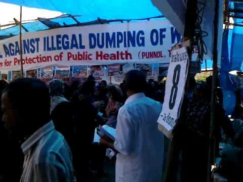 female protest march against sea shore waste dumping pettipalam(punnol)mahe,kerala india