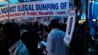 female protest march against sea shore waste dumping pettipalam(punnol)mahe,kerala india