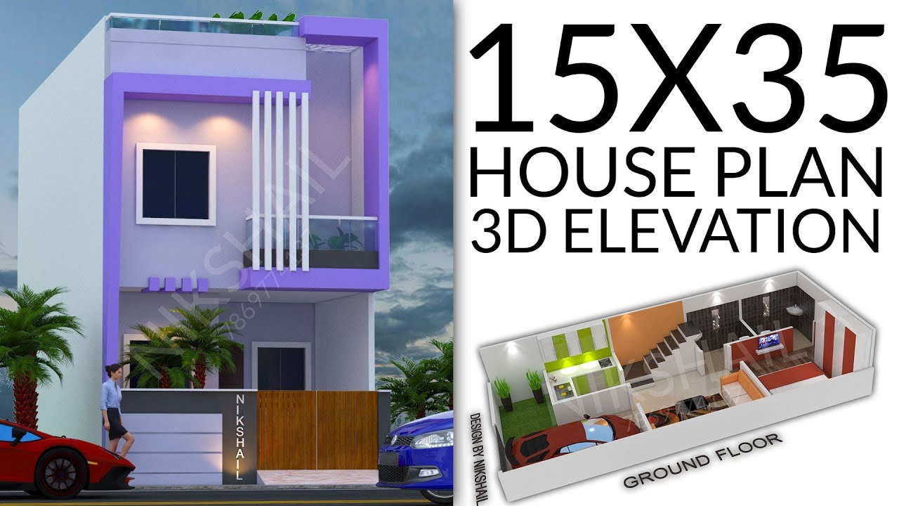 15X35 House plan design with 3d elevation by nikshail ...