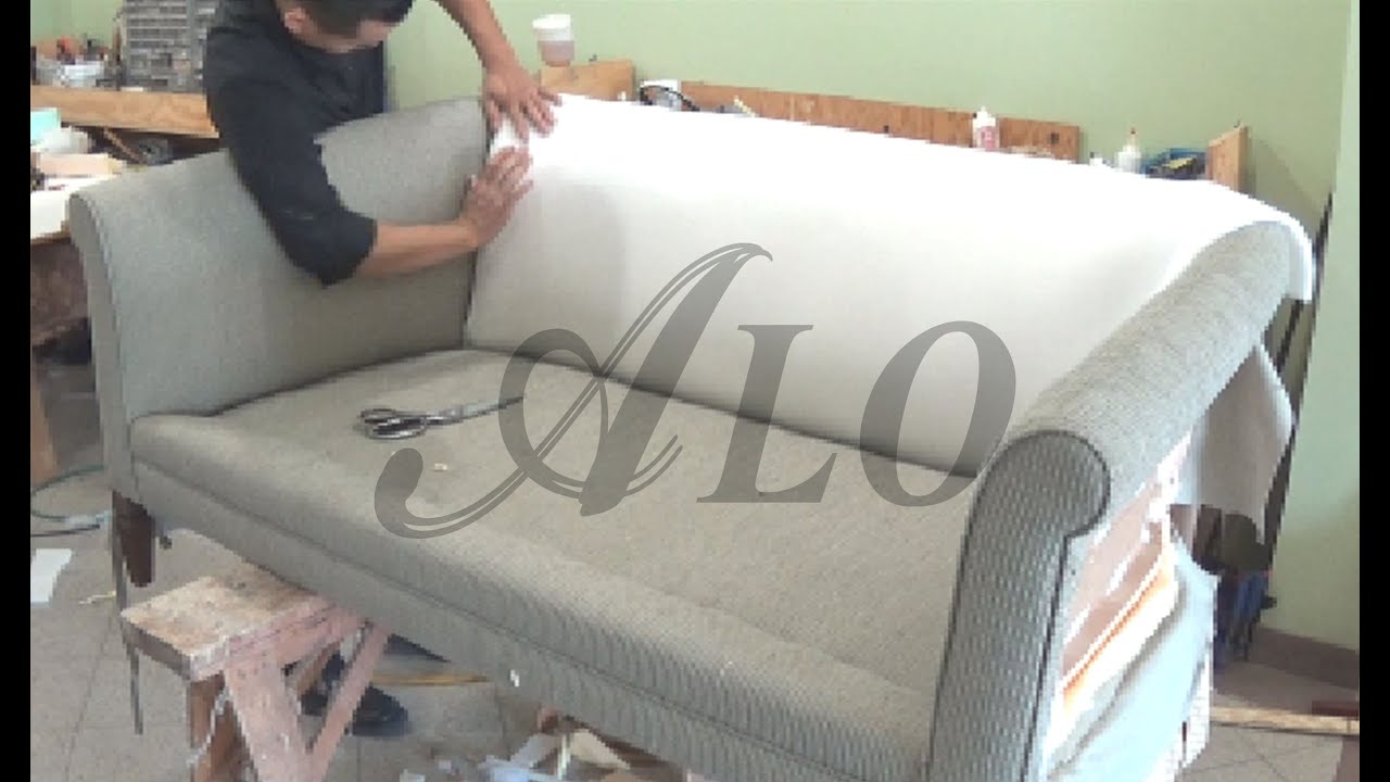 DIY: HOW TO REUPHOLSTER A COUCH WITH ROLL ARMS   ALO Upholstery   YouTube