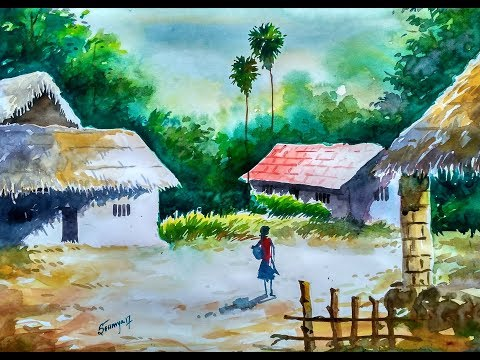 Watercolour landscape painting step by step___#1