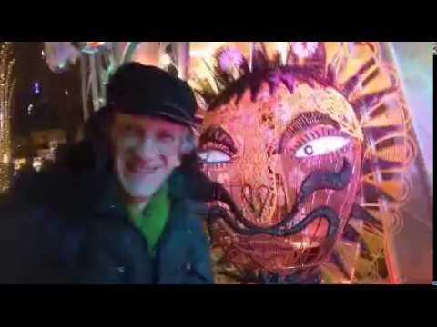 Christmas Super-Light Lion & Hello at Saint Sophia Square, Kiev, Ukraine