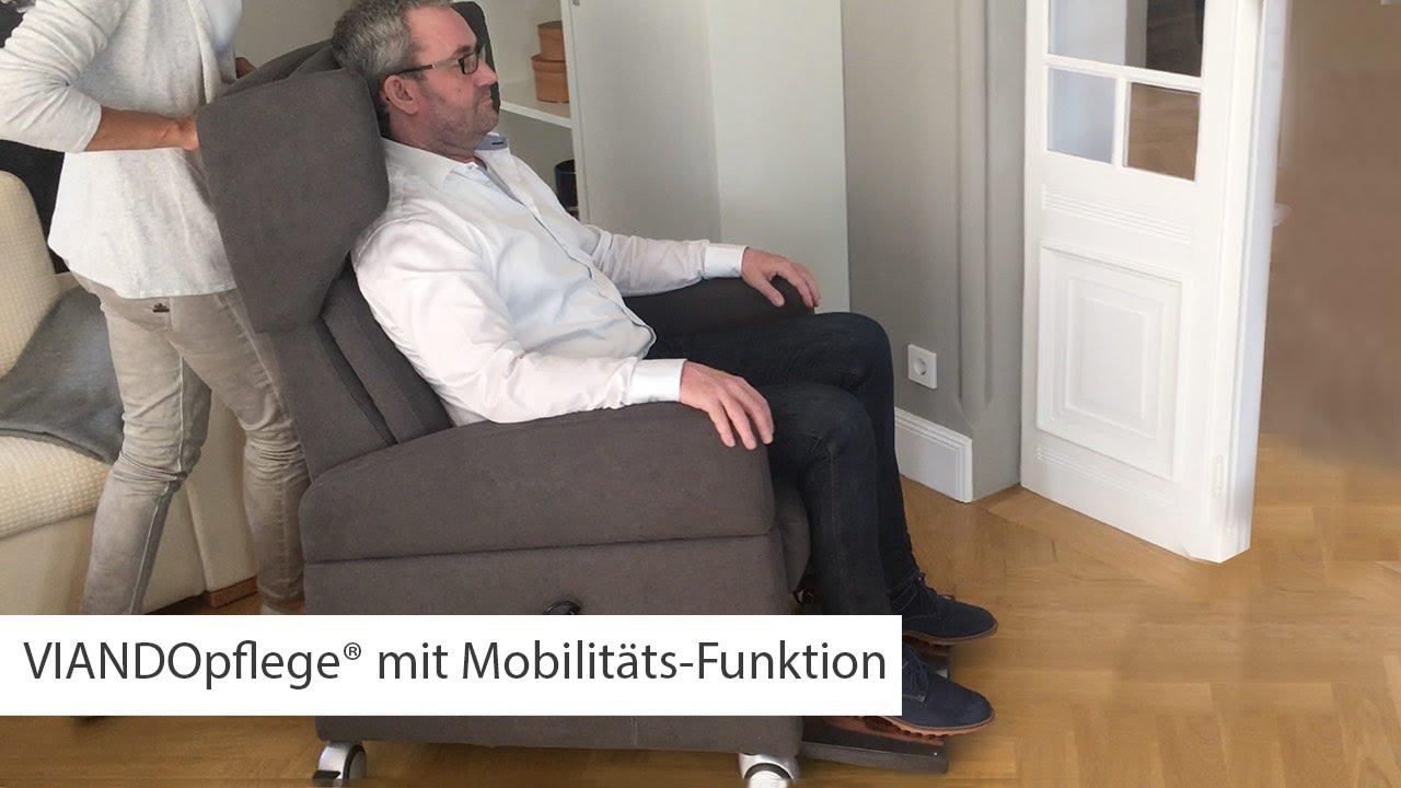 pflegesessel viandopflege mit rollen f r mobilit t youtube. Black Bedroom Furniture Sets. Home Design Ideas