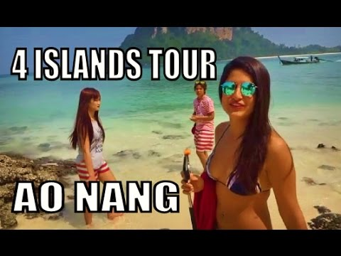 Ao Nang Krabi Thailand. 4 Islands tour by Longtail boat.