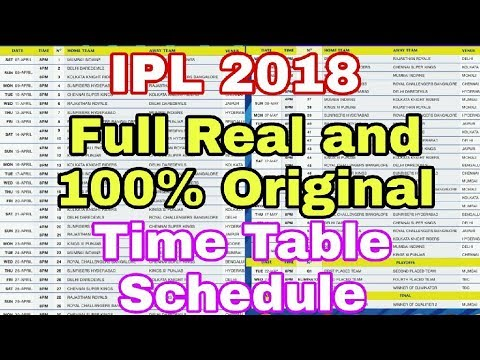 ipl 2018 ipl 2018 full real and 100 original time table full list is here youtube. Black Bedroom Furniture Sets. Home Design Ideas