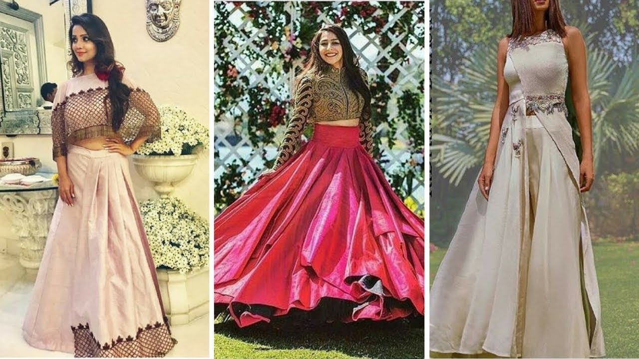189cb9da6bc1 Fashionable Women Lahenga with crop tops//New Silk Crop Top And Skirt Sets