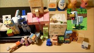 Обзор коллекции фигурок Minecraft и DIY курица из бумаги