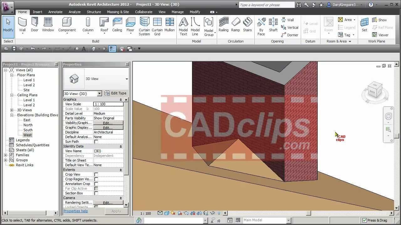 Revit Roof Cricket Cadclips Youtube
