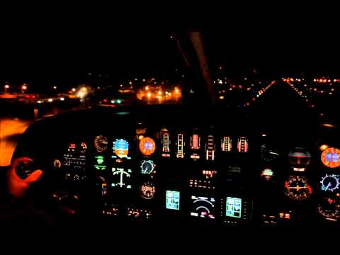 Cockpit view: Landing at night in a Citation Jet