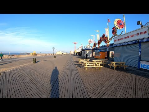 ⁴ᴷ⁶⁰ Walking NYC : Coney Island Boardwalk From Brighton Beach To Sea Gate (Early Morning)