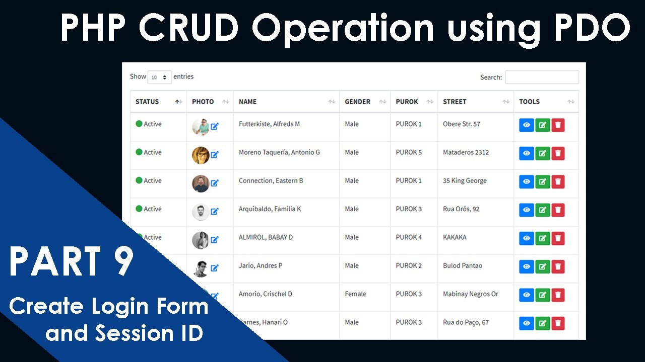 PART-9- PHP CRUD Operation using PDO Extension | Create Login Form and Session Id