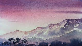 Рассвет акварелью. Учимся рисовать ярко.Sunrise in watercolour.Easy. Limited palette.