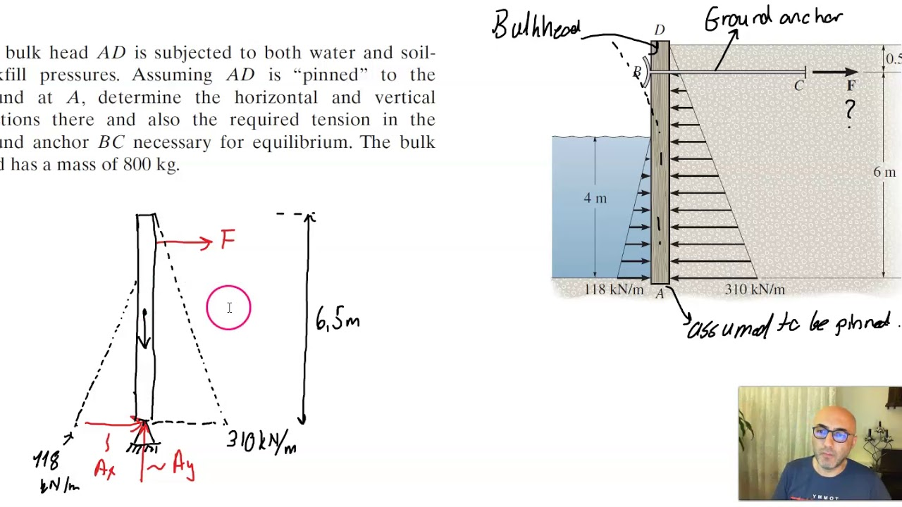 Calculating support reactions and ground anchor bolt tension force for a retaining wall system.