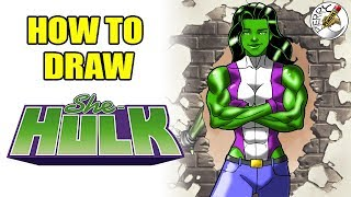 How to draw She Hulk easy step by step narrated tutorial