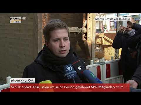 Reaktion von Kevin Kühnert zum Verzicht von Martin Schulz auf den Außenministerposten am 09.02.2018