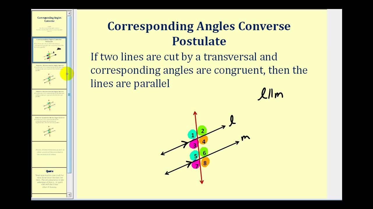a1ca30419051 Corresponding Angles Converse - YouTube