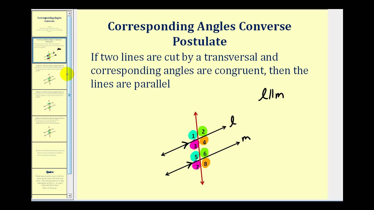 Corresponding Angles Converse Youtube