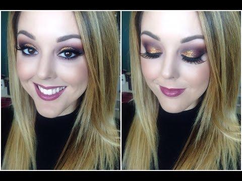 Bronze Glitter Eyes and Purple Lips