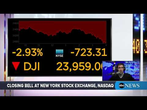 Dow Jones Industrial Average Closes Down 724 Points