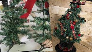 Dollar Tree Christmas tree//Unique Concept// Fuller tree//Top Hat Tree