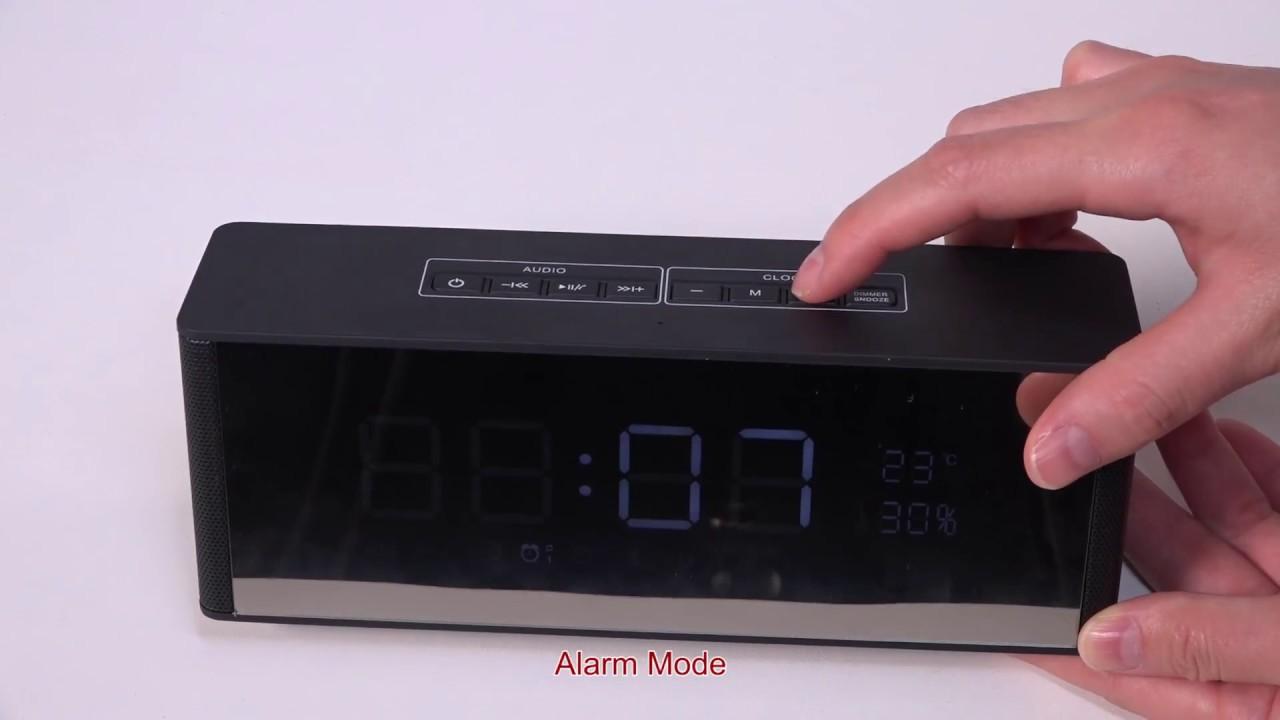 Bluetooth 3 0 Speaker with Alarm Clock FM Radio 3 5mm AUX Input